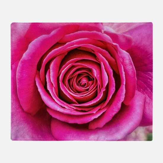 Hot Pink Rose Closeup Throw Blanket