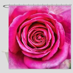 Hot Pink Rose Closeup Shower Curtain