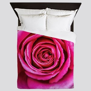 Hot Pink Rose Closeup Queen Duvet