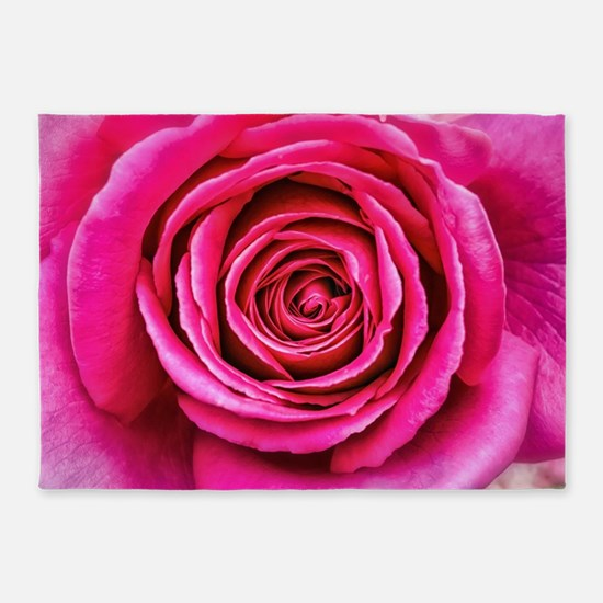 Hot Pink Rose Closeup 5'x7'Area Rug