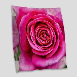 Hot Pink Rose Closeup Burlap Throw Pillow