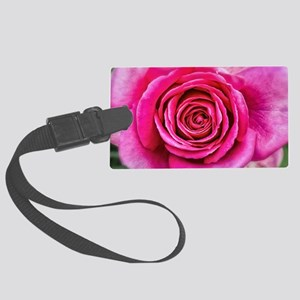 Hot Pink Rose Closeup Large Luggage Tag