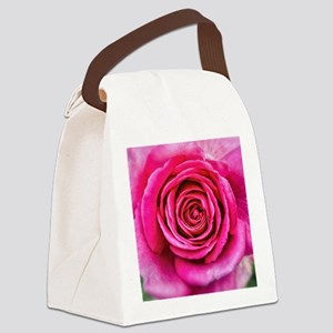 Hot Pink Rose Closeup Canvas Lunch Bag