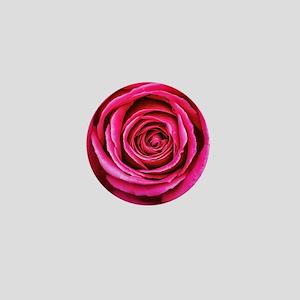Hot Pink Rose Closeup Mini Button