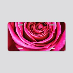 Hot Pink Rose Closeup Aluminum License Plate