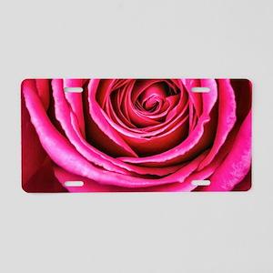 Hot Pink Rose Closeup Aluminum License Plate