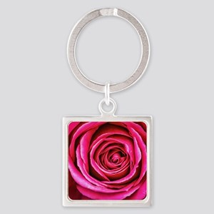 Hot Pink Rose Closeup Square Keychain