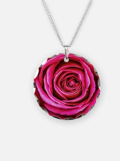 Hot Pink Rose Closeup Necklace