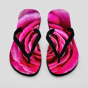 1bfa12f114568 Hot Pink Rose Closeup Flip Flops
