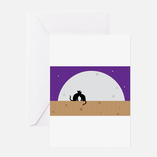 Moon cats graphic Greeting Cards