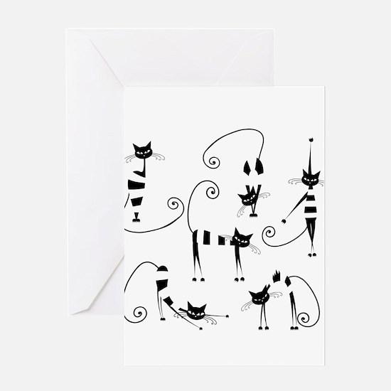 Amusing cats design set Greeting Cards