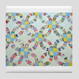 Colorful patchwork quilt Tile Coaster