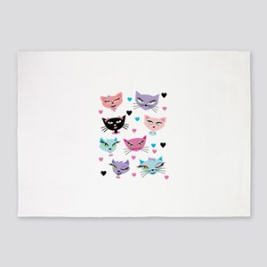Cute cartoon cats card 5'x7'Area Rug