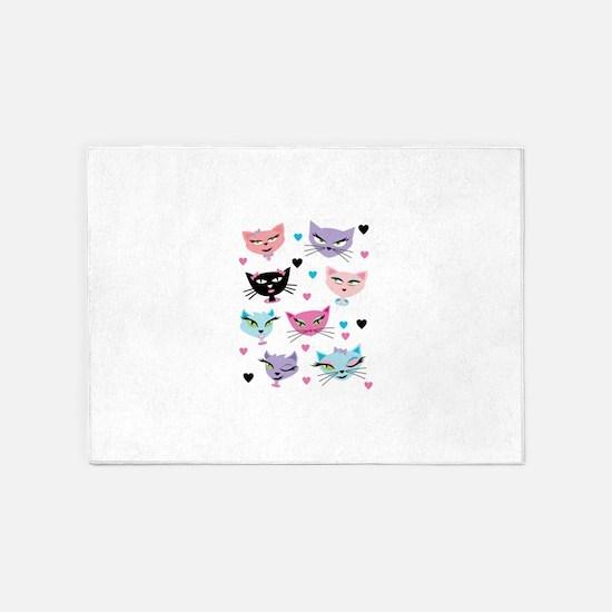 Cute cartoon cats card 5'x7'Area Rug