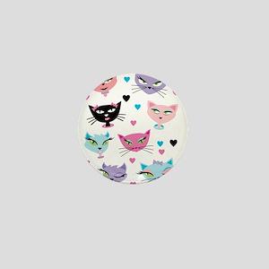 Cute cartoon cats card Mini Button