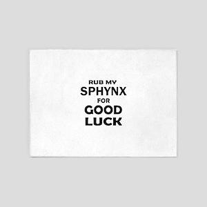 Rub my Sphynx for good luck 5'x7'Area Rug