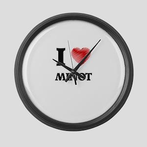 I love Minot Massachusetts Large Wall Clock