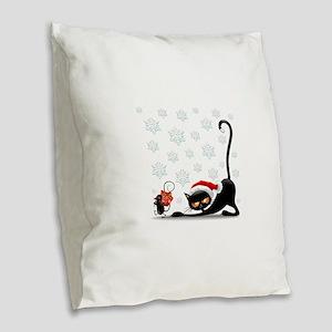Christmas funny cats Burlap Throw Pillow