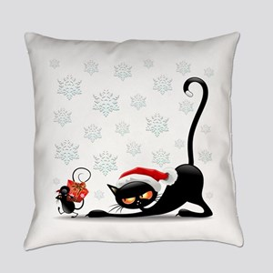 Christmas funny cats Everyday Pillow