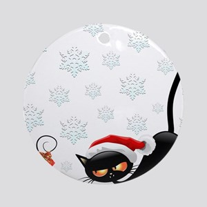 Christmas funny cats Round Ornament