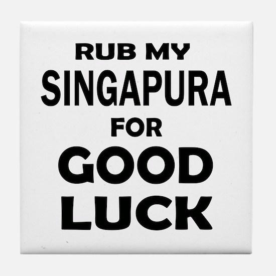 Rub my Singapura for good luck Tile Coaster