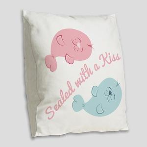 With A Kiss Burlap Throw Pillow