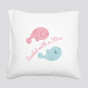 With A Kiss Square Canvas Pillow