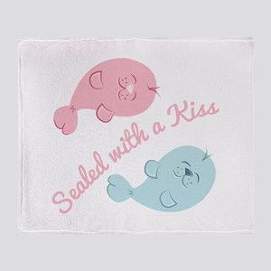 With A Kiss Throw Blanket