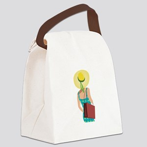 Lady In Hat Canvas Lunch Bag