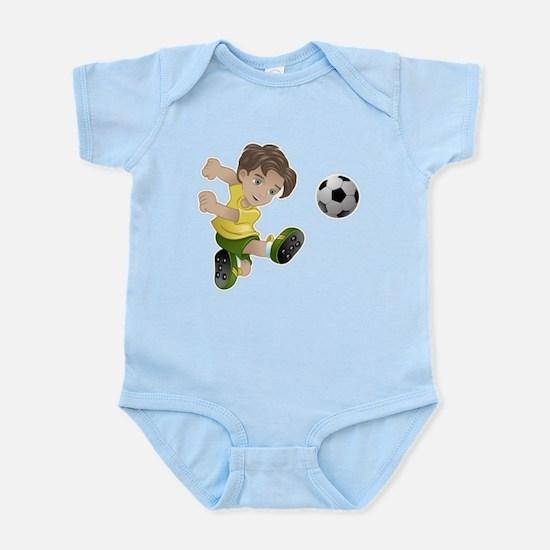 Brazil boy kicking the football flag bac Body Suit