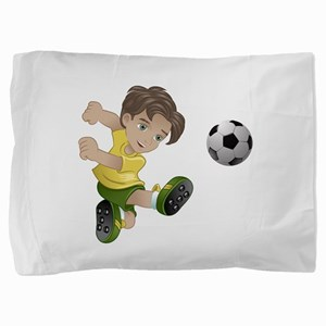 Brazil boy kicking the football flag b Pillow Sham