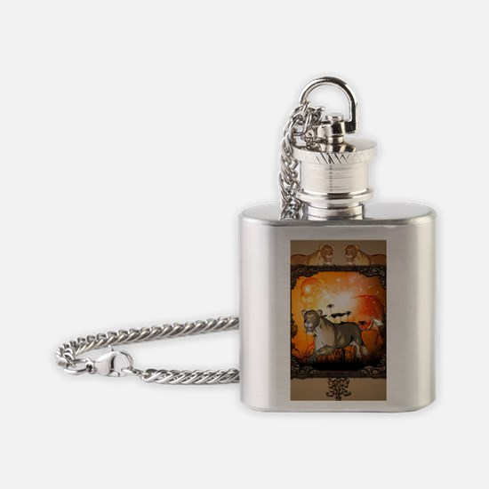 Lioness in a frame Flask Necklace