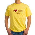 I (Heart) Organic Coffee Yellow T-Shirt