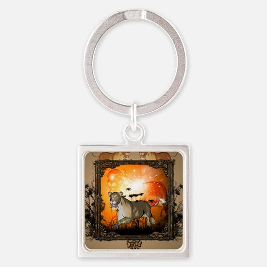 Lioness in a frame Keychains