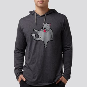 Happy grooming cat time Long Sleeve T-Shirt