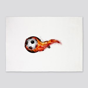 Soccer ball on fire 5'x7'Area Rug