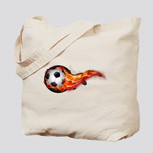 Soccer ball on fire Tote Bag