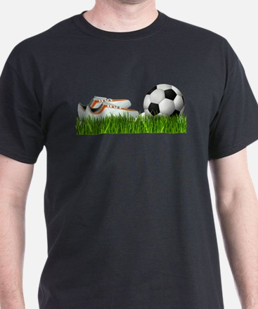 Orange soccer shoes with football T-Shirt