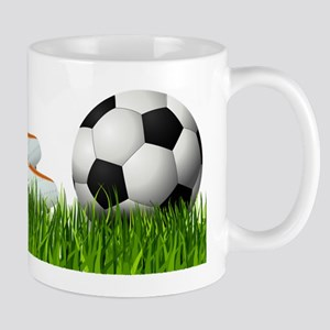 Orange soccer shoes with football Mugs