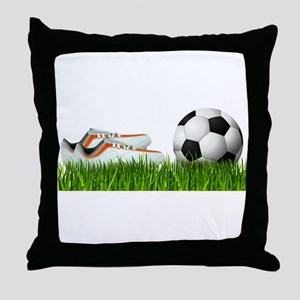 Orange soccer shoes with football Throw Pillow