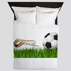 Orange soccer shoes with football Queen Duvet