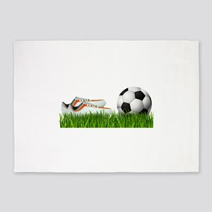 Orange soccer shoes with football 5'x7'Area Rug