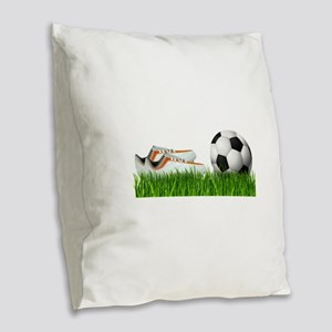 Orange soccer shoes with footb Burlap Throw Pillow