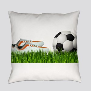 Orange soccer shoes with football Everyday Pillow