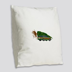 Bringing The Tree Home Burlap Throw Pillow