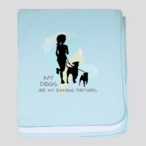 my dogs are my running parners baby blanket