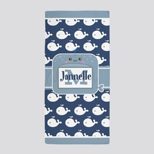 Blue Whimsical Whale Personalized Chil Beach Towel