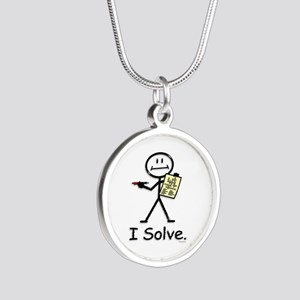Crossword Puzzle Stick Figur Silver Round Necklace