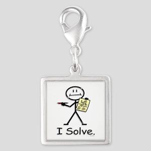 Crossword Puzzle Stick Figure Silver Square Charm