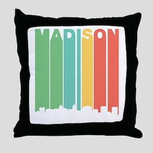 Vintage Madison Cityscape Throw Pillow